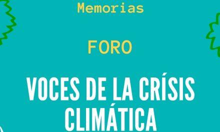 Foro: «Voces de la crisis climática.  Reflexiones y propuestas hacia la  COP 25»