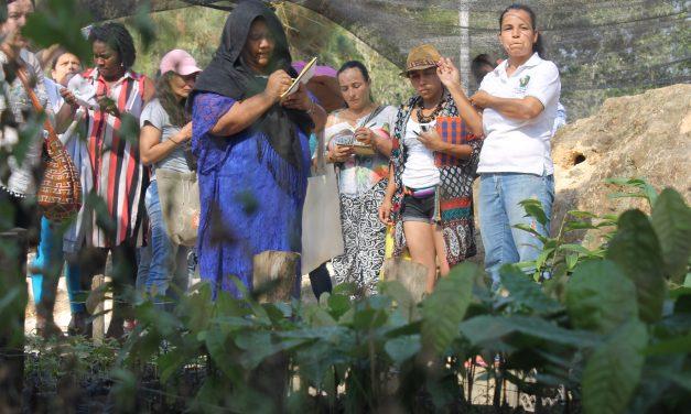 Panel solar y cosecha de aguas lluvias por mujeres campesinas en una región afectada por la crisis climática y los conflictos ambientales.