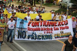 Algunos de los manifestantes en contra del fracking en Colombia, una lucha que lleva activa 10 años.TATIANA ROA